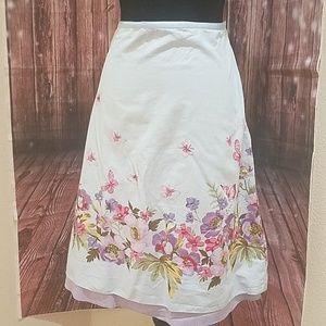 Liz Claiborne Floral cotton skirt with butterflies